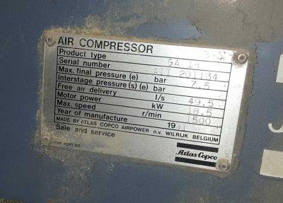 Placa de características Compresor de aire GA 18 de Atlas Copco