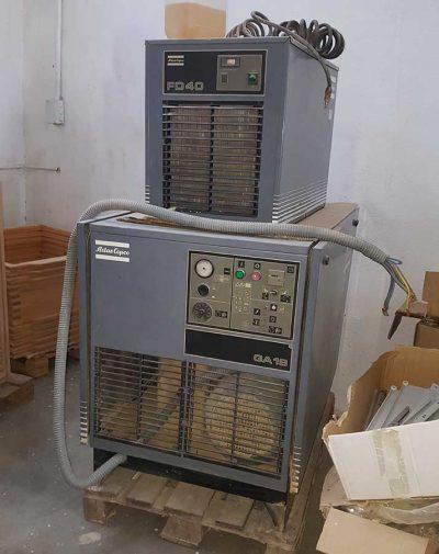 Compresor de aire GA 18 y Secador FD 40 de Atlas Copco