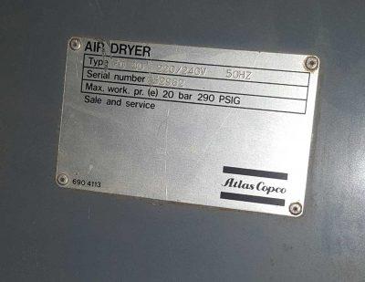 Placa de características Secador FD 40 de Atlas Copco